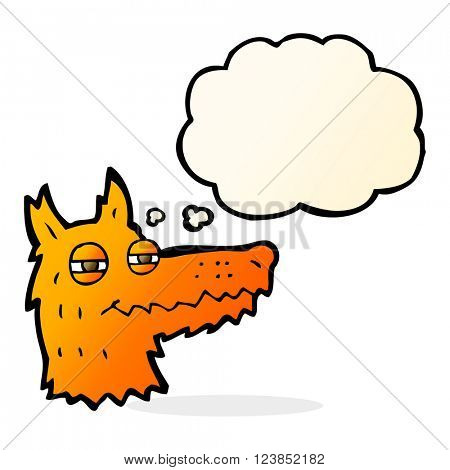 cartoon smug fox face with thought bubble