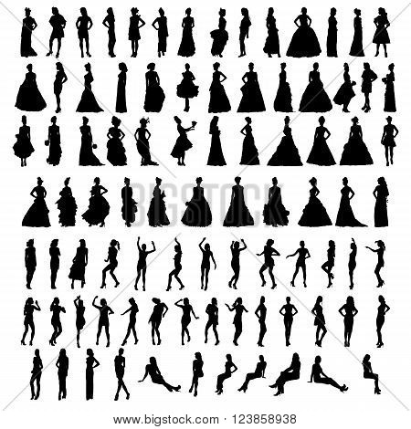 Silhouettes of beautiful women. Vector illustration EPS10