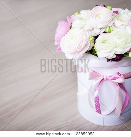 Big Bouquet Of Summer Flowers In White Round Box