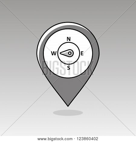Compass wind rose outline pin map icon. Map pointer. Map markers. Direction west. Meteorology. Weather. Vector illustration eps 10