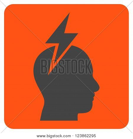 Headache vector icon. Image style is bicolor flat headache icon symbol drawn on a rounded square with orange and gray colors.