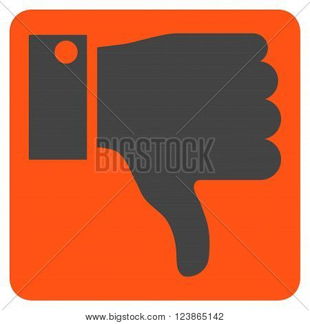 Thumb Down vector icon symbol. Image style is bicolor flat thumb down iconic symbol drawn on a rounded square with orange and gray colors.