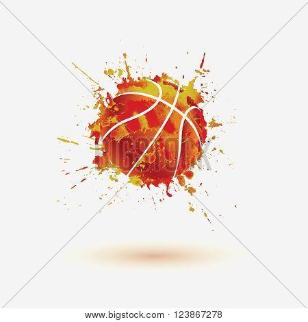Basketball ball. Vector watercolor splash paint illustration