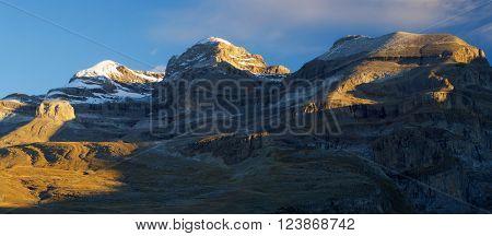 Monte Perdido peak (3355m.),Sum de Ramond peak (3254m.) and Punta de Las Olas peak (3002m.), right to left, in Ordesa National Park, Anisclo Canyon, Huesca, Aragon, Spain.