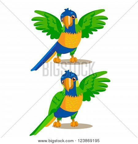 Rainbow Parrot Pointing Or Showing Something With His Wing. Vector Illustration. Rainbow Parrot For Sale. Rainbow Parrot Location. Rainbow Parrot Mascot. Macaw Parrot On A White Background.
