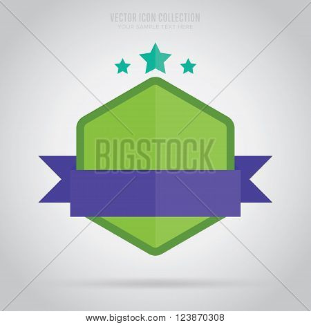 Flat vector badge. Design badge. Abstract badge template. Retail badge. New badge. Business badge. Web sticker. Blank badge. Isolated badge. Colorful badge. Ribbon badge. Badge icon. Advertisement badge. Blank label.