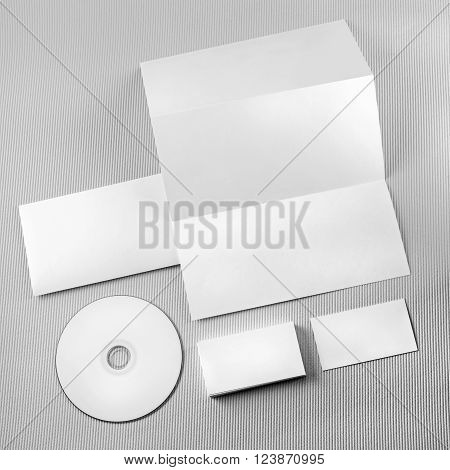 Photo of blank stationery set on gray background. Template for branding identity. For design presentations and portfolios. Mockup for branding identity. Corporate identity. Top view.