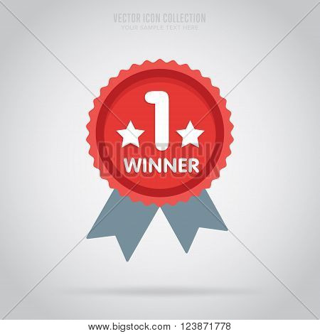Winner medal badge isolated vector in flat design style. Colorful winner badge or label. First place. Winner badge. Award rosette badge. Blank rosette. Award symbol. Special sign. Winner.