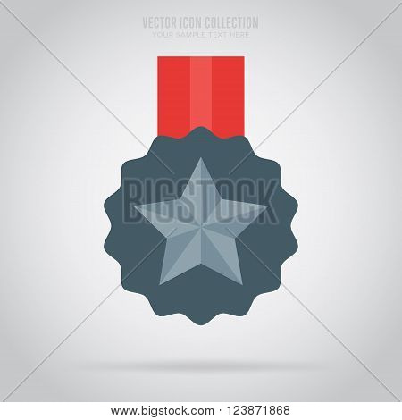Medal icon. Medal flat modern style. Vector medal. Award medal. Isolated medal illustration. Winner symbol. Medal icon with ribbon. Winner icon. Medal with star shape. Victory sign. Champions medal icon. Medal badge.