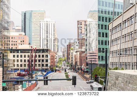 Denver, Colorado - May 4, 2015 : Skyscrapers in a mile high Denver downtown Colorado USA