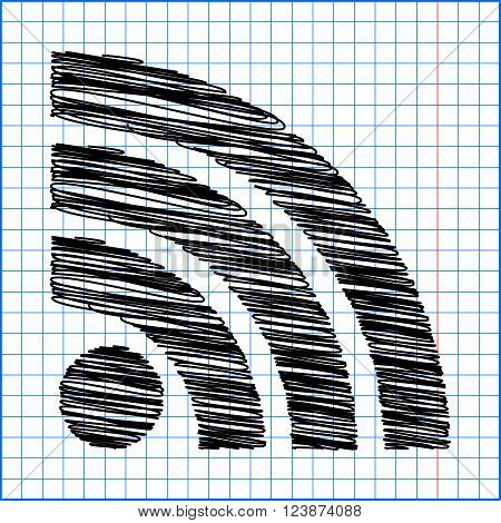 RSS sign icon. RSS feed symbol with pen effect on paper.