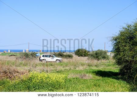 Famagusta Northern Cyprus - March 21 2016: United Nation car in Buffer Zone close to Famagusta