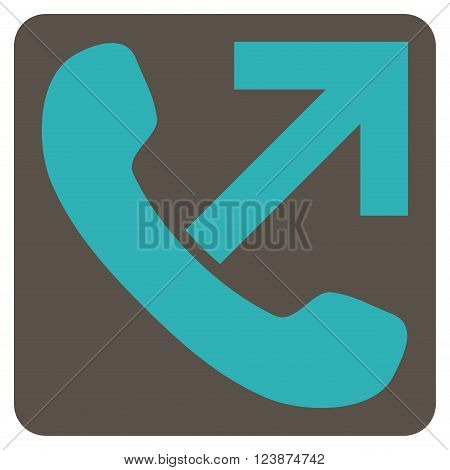 Outgoing Call vector symbol. Image style is bicolor flat outgoing call iconic symbol drawn on a rounded square with grey and cyan colors.