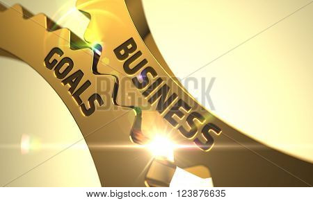 Business Goals - Technical Design. Business Goals on Golden Metallic Gears. Business Goals Golden Gears. Business Goals - Illustration with Glow Effect and Lens Flare. Business Goals - Concept. 3D.