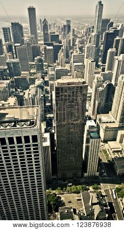 an aerial view of the Chicago city