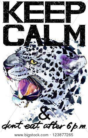 Keep Calm. Keep Calm and do not eat after 6 p.m. Keep Calm Tee shirt design. Leopard watercolor illustration. Leopard.Handwritten text. Keep Calm Tee shirt print. poster
