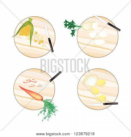 Vegetable Illustration Sweet Corn White Radish Carrot and Potatoes on Wooden Cutting Boards.