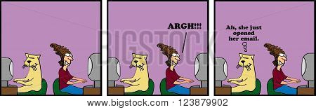Cartoon strip about the stress lots of email cause people at work.