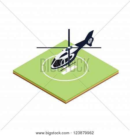 Isometric icon of helicopter boarding to helipad for game design and infographic