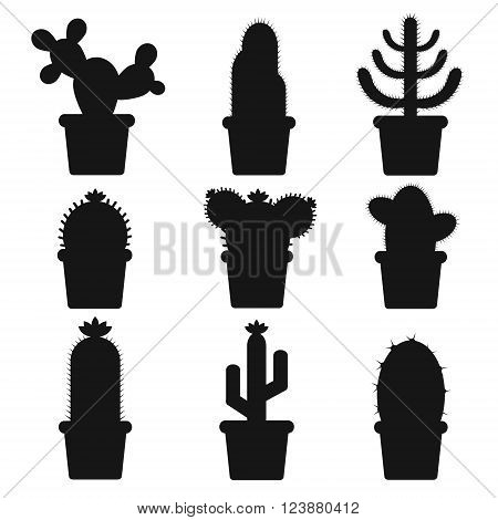 Isolated cactus in a pot. Icon of cactus flower. Desert plant. Vector illustration of a silhouette cactus.