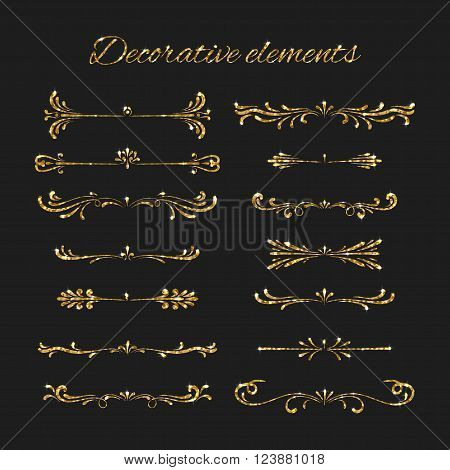 Golden dividers set. Ornamental decorative elements. Vector ornate elements design. Gold flourishes. Shiny decorative hand drawn borders with glitter effect. Calligraphic decorations with sparkles.