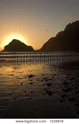 Sunsets Over Heceta Head Beach