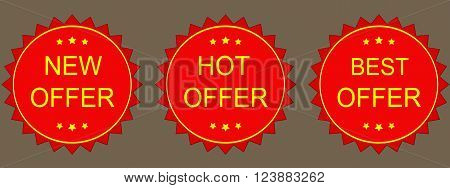 New hot best Offer Labels. Vector image.