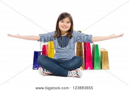 Happy Shopping Kid Or Young Girl