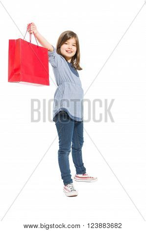 Young And Cute Shopping Girl Holding A Red Bag