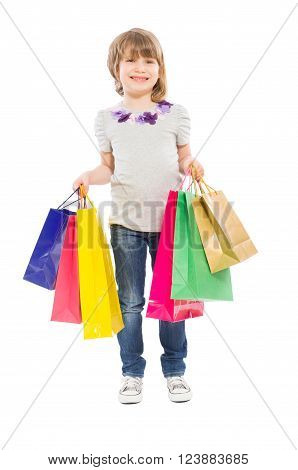 Young Blonde Girl Holding Shopping Bags