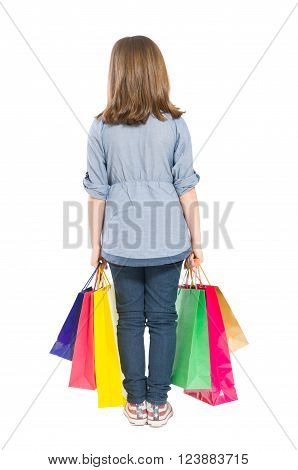Young shopping girl back concept isolated on white background