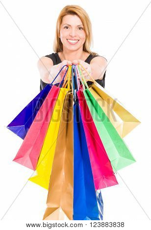 Happy Shopping Woman Holding Shopping Bags