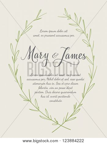 Wedding Invitation with Hand drawn laurel wreaths. Vintage design. Vector illustration