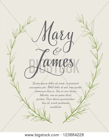Wedding Invitation with Hand drawn laurel wreaths. Vintage design. Vector illustration