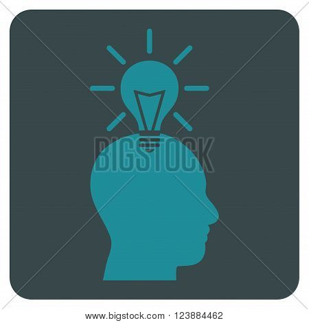 Genius Bulb vector symbol. Image style is bicolor flat genius bulb iconic symbol drawn on a rounded square with soft blue colors.
