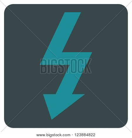 High Voltage vector pictogram. Image style is bicolor flat high voltage icon symbol drawn on a rounded square with soft blue colors.