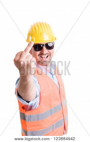 Smiling and funky engineer or architect showing the obscene middle finger