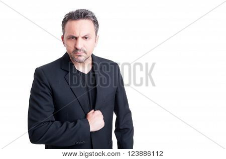 Elegant Italian Mafia Boss Looking Angry
