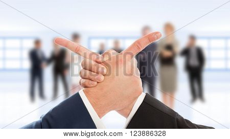 Business Arms Hand Shake And Finger Point