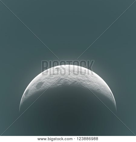 high resolution moon digital creative, rising moon high quality, moon view on night sky, bright shadows on half moon rising