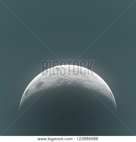 high resolution moon digital creative, rising moon high quality, moon view on night sky, bright shadows on half moon rising