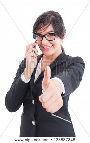 Female Business Manager Showing Like And Talking On Smartphone