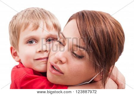 Protective mother hugging happy son. Single mother showing love concept