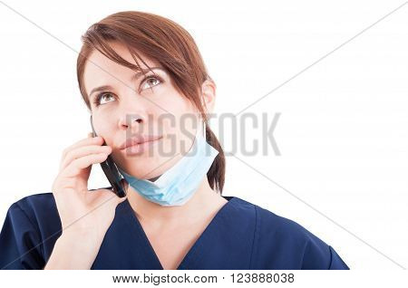 Modern Woman Dentist Making Phone Appointment