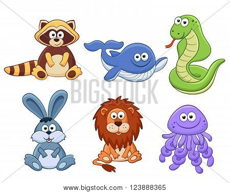 Cute cartoon animals isolated on white background. Stuffed toys set. Vector illustration of adorable plush baby animals. Raccoon whale snake bunny lion jellyfish.