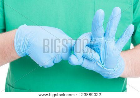 Doctor Hands Making Obscene Gesture Simulating Sex