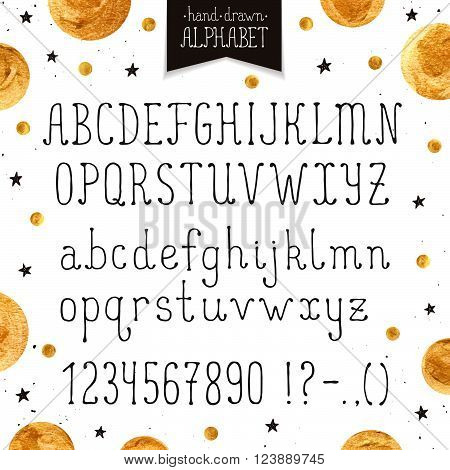 Hand drawn narrow alphabet. Uppercase and lowercase thin letters and numbers isolated on white background. Handdrawn typography. Narrow doodle font with golden dots.
