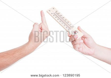 Hand Offer Thermometer With Middle Finger Refusal