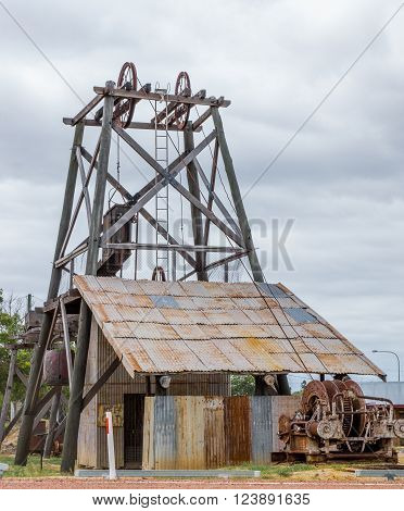 Old poppet head display in gold mining town of Charters Towers, Australia