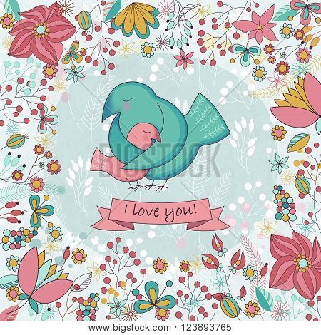 Vector cute card for Happy mothers day. Background with floral frame and Mother's hugs. Cute birds - mom and nestling.